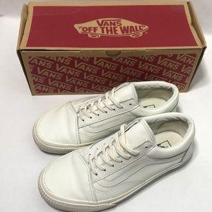 Vans Old Skool EMBOSSED White Leather Sneakers